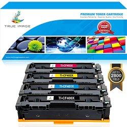 True Image 4 Packs Compatible for HP 201X CF400X 201A CF400A CF401A CF402A CF403A Toner Cartridge Ink for HP Color Laserjet Pro MFP M277dw M277n M277c6 M277 HP Color Laserjet Pro MFP M252dw M252n M252