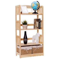 Allblessings Multipurpose Bookcase Rack Collection Garage Shelf W/2 Woven Baskets For Storage & Display