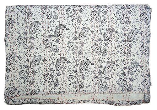 Bhavya International White Cotton Kantha Quilt Indian Handmade Bedding