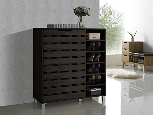 Baxton Studio Shirley Modern & Contemporary Wood 2-Door Shoe Cabinet with Open Shelves, Dark Brown