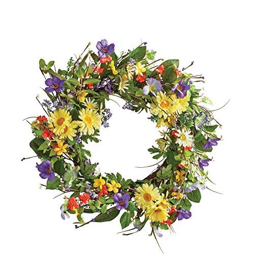 Collections Etc Wild Daisy Floral Twig 19-1/2 Door Wreath