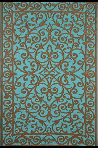 Green Decore Gala Outdoor/Plastic/Reversible Eco Rug (6 x 9, Turquoise/Gold)