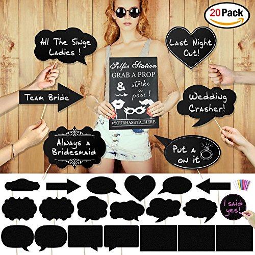 Konsait Large Size Blank Paper Chalk Board Sign Photo Booth Props(20pcs), Wedding Bachelorette Party Photo Booth Props Kit Card Black Board With Colorful Chalk for Wedding Bachelorette Party Supplies