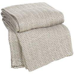 Lavish Home Chevron 100Percent Egyptian Cotton Blanket - Full/Queen - Choc