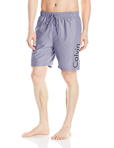 Calvin Klein Men's Solid Logo Volley Swim Trunk, Concrete Grey, Large