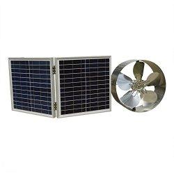 FISTERS 25W Solar Powered Attic Vent w/ Solar Panel (30W foldable solar panel)