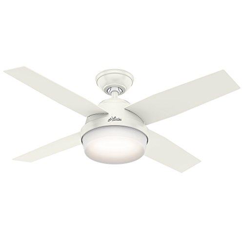 Hunter Contemporary Dempsey Fresh White Ceiling Fan With Light & Remote, 44""