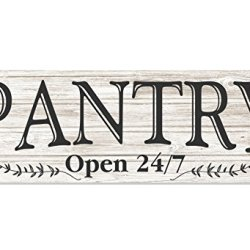 MRC Wood Products Pantry Open 24/7 White Rustic Wood Wall Sign 6x18