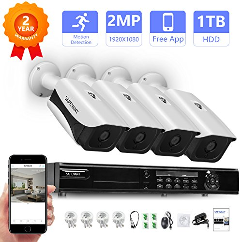 【Expandable System】 1080P Home Security Camera System,Safevant 8CH 2MP DVR Home Security System with 4pcs 1080P Indoor/Outdoor Security Cameras,Pre-installed 1TB HDD,Plug and Play