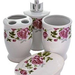 "Traditional 4 Piece ""Romantic"" Pink English Rose Bathroom Accessory Set"