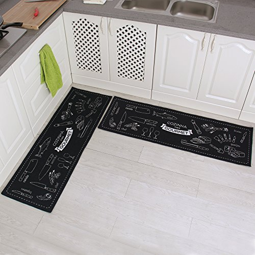 Carvapet 2 Piece Non-Slip Kitchen Mat Rubber Backing Doormat Runner Rug Set, Cozinha Design