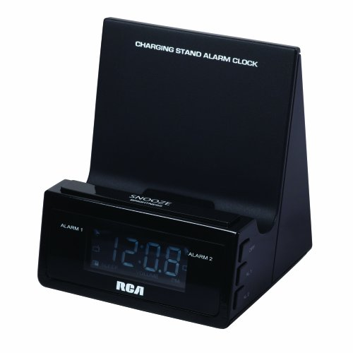 RCA Charging Stand Alarm Clock with Built-in USB Charging