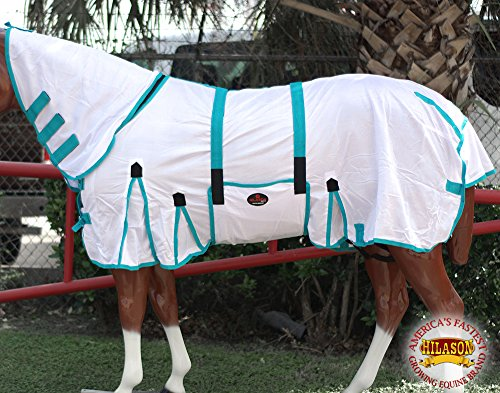 """HILASON 75"""" POLY AIRFLOW MESH HORSE FLY SHEET WITH NECK COVER & BELLY STRAP WHITE/TURQUOISE"""