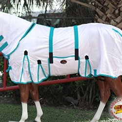 "HILASON 75"" POLY AIRFLOW MESH HORSE FLY SHEET WITH NECK COVER & BELLY STRAP WHITE/TURQUOISE"