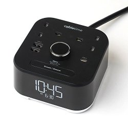 United Kingdom 220v Power - CubieTime Alarm Clock Charger w/ 2 USB-A Ports, 1 USB-C port and 2 (UK 220v) Power Outlets Charging Station