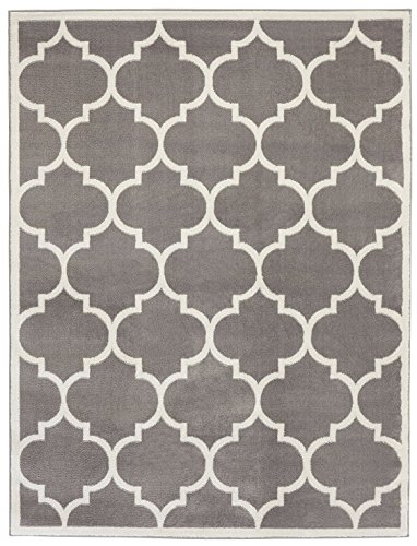 Sweet Home Stores Clifton Collection Light Grey Moroccan Trellis Design (5 x 7) Area Rug