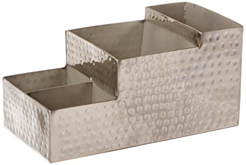 """American Metalcraft HMBAR9 Hammered Stainless Steel Coffee Caddy, 4 Compartments, 8"""" x 4"""", Silver"""