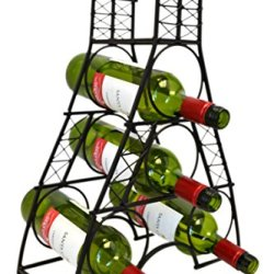 Wrought Iron Eiffel Tower French Design 4-Bottle Tabletop Wine Rack Metal Stand