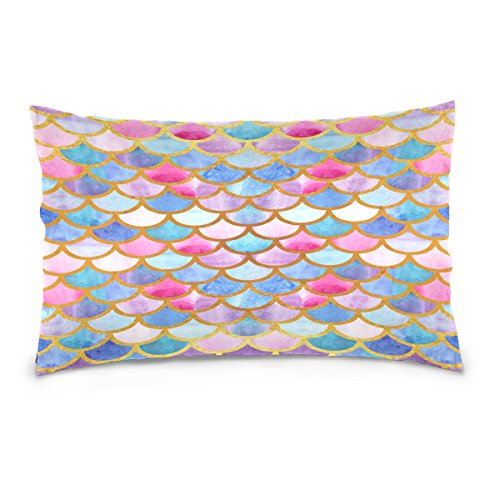 ALAZA Rainbow Mermaid Scale Cotton Standard Size Pillowcase 26 X 20 Inches Twin Sides