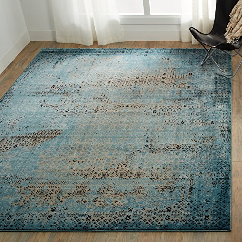 """Nourison Karma Blu Rectangle Area Rug, 7-Feet 10-Inches by 10-Feet 6-Inches (7'10"""" x 10'6"""")"""