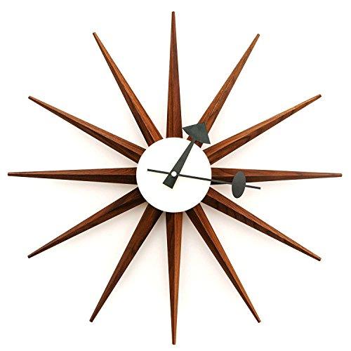 Kardiel George Nelson Sunburst Clock, Real Walnut