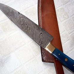 Rk-103 B, Custom Handmade Damascus Steel Chef Knife - Stunning Brass Bolsters with Colored Bone Handle