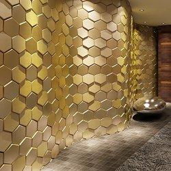 Art3d Peel and Stick Faux Leather Tile, 3D Hexagon,Gold