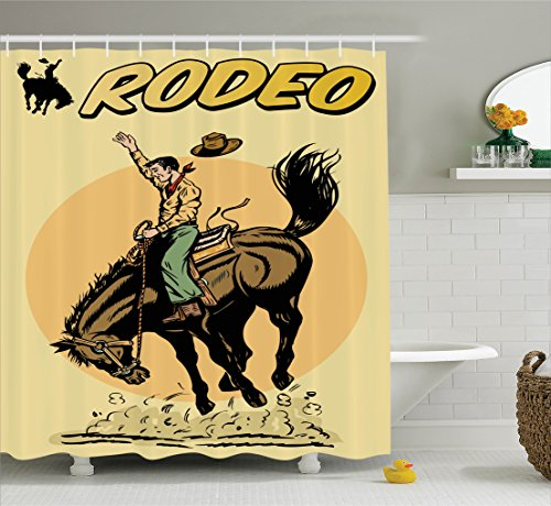 Ambesonne 1950s Decor Shower Curtain Set, Old Style Art of a Rodeo Cowboy Riding Horse