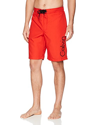 Calvin Klein Men's Solid Logo Board Short, Risk Red, Medium