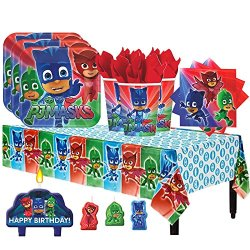 PJ Masks Birthday Party Pack for 16 with Plates, Napkins, Cups, Tablecover, and Candles