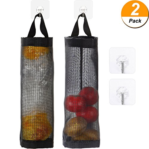 Maxdot 2 Pieces Plastic Bag Holder Hanging Folding Mesh Garbage Bag Organizer Waste Bag Storage Trash Bags Dispenser with Hooks (Black)