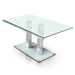 HOMES: Inside + Out IDF-3362T Listoll Dining Table Silver Contemporary Glass