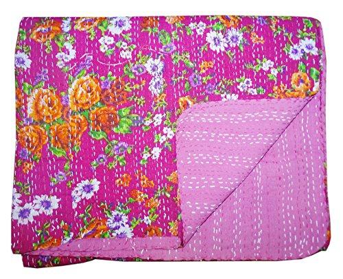 Bhavya International Pink Floral Cotton Kantha Quilt Indian Handmade Bedspread