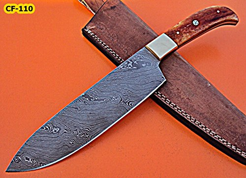 CF-110 Custom Handmade 12.4 Inches Damascus Steel Chef Knife - Gorgeous Camel Bone Handle with Brass Bolster