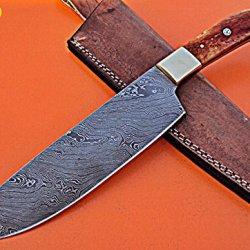CF-110 Custom Handmade 12.4 Inches Damascus Steel Chef Knife - Gorgeous Camel Bone Handle with Brass Bolster
