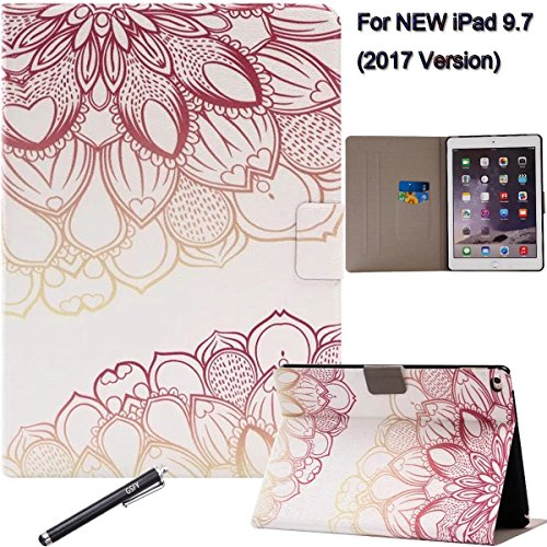 New iPad 9.7 2017 Case, Newshine Auto Wake Up/Sleep Ultra Slim Synthetic Leather Flip Folio Magnetic Closure Cover for Apple New iPad 9.7 inch 2017 Tablet - Lotus Flower