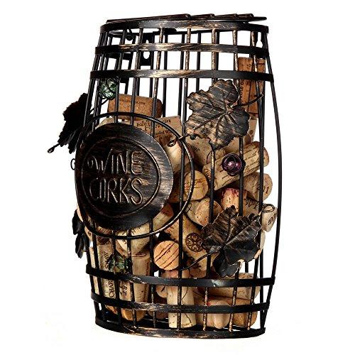 Home-X Wall Mounted, Barrel Shape Metal Wine Cork Holder, Best Designed Gift For Wine Lovers