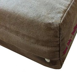 Dogbed4less DIY Pet Bed Pillow Brown Denim Duvet Cover and Waterproof Internal case