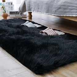 Carvapet Luxury Soft Faux Sheepskin Fur Area Rugs for Bedside Floor Mat Plush Sofa Cover Seat Pad