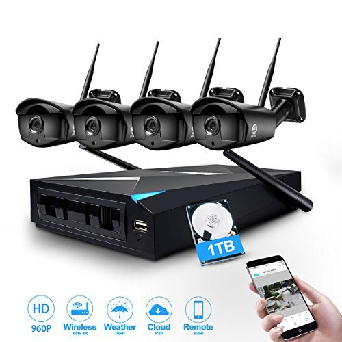 Wireless Camera System, JOOAN TC-734-4N 960P Wireless Security CCTV Surveillance Systems With 4X1.3MP IP Camera 4CH NVR Plug and Play Indoor/Outdoor