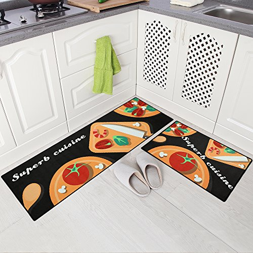 Carvapet 2 Piece Non-Slip Kitchen Mat Doormat Runner Rug Set, Vegetable Design