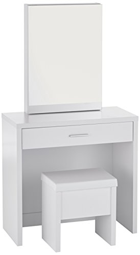 Coaster Home Furnishings Contemporary 3 Piece Vanity Table Set with Sliding Mirror and Stool Storage - White