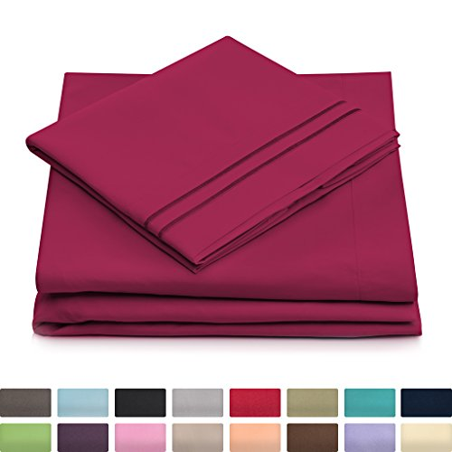 Cosy House Collection Twin Size Bed Sheets - Fuchsia Luxury Sheet Set - Deep Pocket - Super Soft Hotel Bedding - Cool & Wrinkle Free - 1 Fitted, 1 Flat, 1 Pillow Case - Magenta Twin Sheets - 3 Piece
