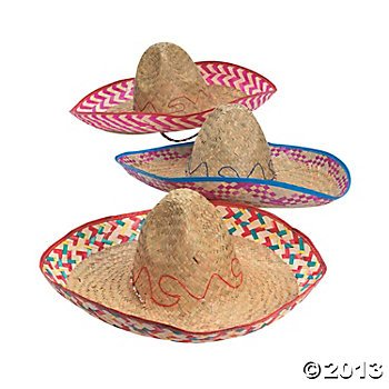 Fun Express (Adult) Embroidered Woven Straw Sombreros