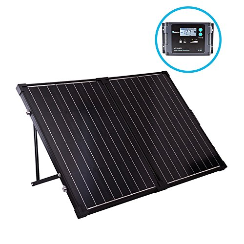Renogy 100 Watt 12 Volt Monocrystalline Foldable Portable Solar Suitcase with Voyager Waterproof Charge Controller