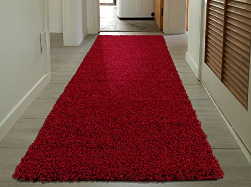 Sweet Home Stores Cozy Shag Collection Red Solid Shag Rug