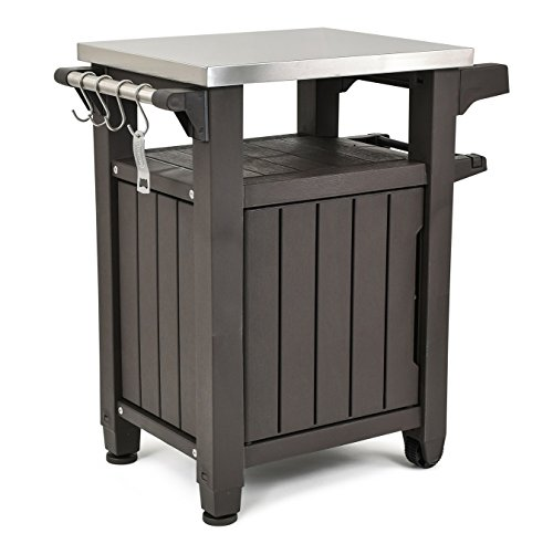 Keter Unity Indoor Outdoor BBQ Entertainment Storage Table/Prep Station with Metal Top