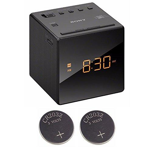 Sony ICFC1 Alarm Clock Radio, Black + 2 Back-up 2032 Lithium Batteries