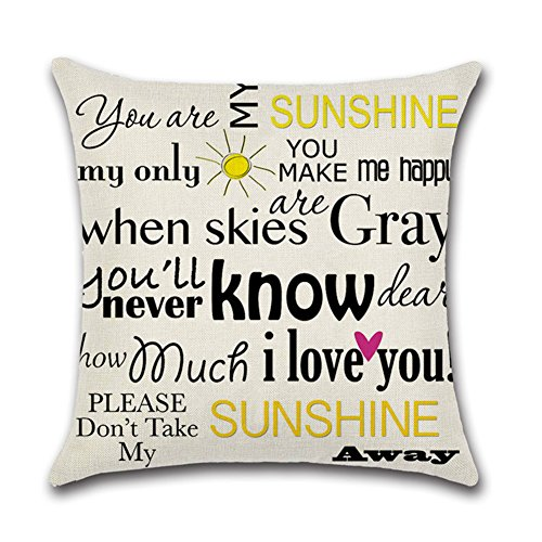 """YANGYULU Quote Words Cotton Linen Home Decorative Throw Pillow Case Sofa Cushion Cover 18"""" x 18"""" (You Are My Sunshine I Love You)"""
