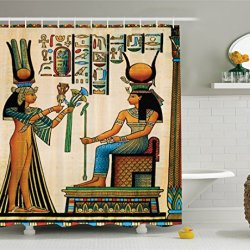Ambesonne Egyptian Decor Shower Curtain Set, Old Egyptian Papyrus Depicting Queen Nefertari With Historical Empire Artwork, Bathroom Accessories, 69W X 70L Inches, Multi